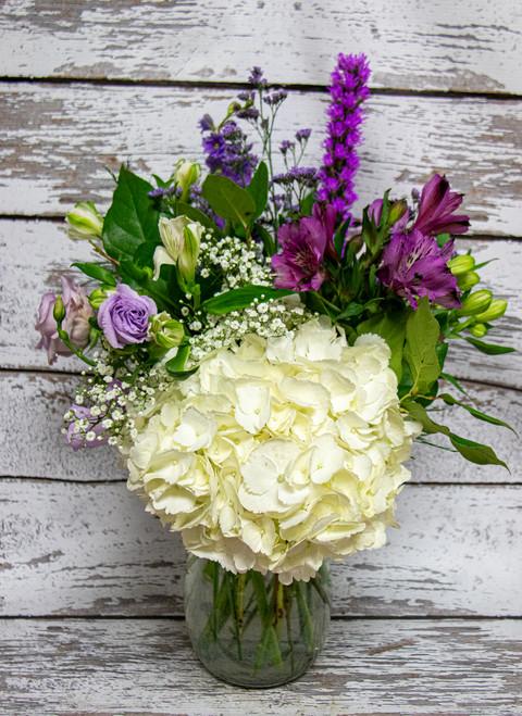 Purple and White Sympathy Arrangement