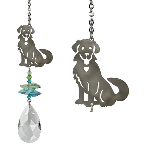 A large crystal is topped by smaller green crystals and a happy silver puppy dog.  Dogs represent loyalty, devotion and protection. This happy puppy with his wagging tail is the perfect gift for a dog lover or a lifelong friend. Rover tops a cluster of crystals that sparkle and shine in the sun.  Works equally well as a sun catcher or Christmas ornament. Hang it in your office or dorm room - it's especially beautiful when hanging in the window or in front of a light.  Recommended for indoor use.