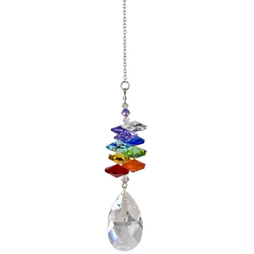 Crystal suncatcher reflects the colors of the rainbow; hang it in a window and watch the magic happen as this cluster of crystals sparkles and shines in the sun.  Works equally well as a sun catcher or Christmas ornament. Hang it in your office or dorm room - it's especially beautiful when hanging in the window or in front of a light.  Recommended for indoor use.