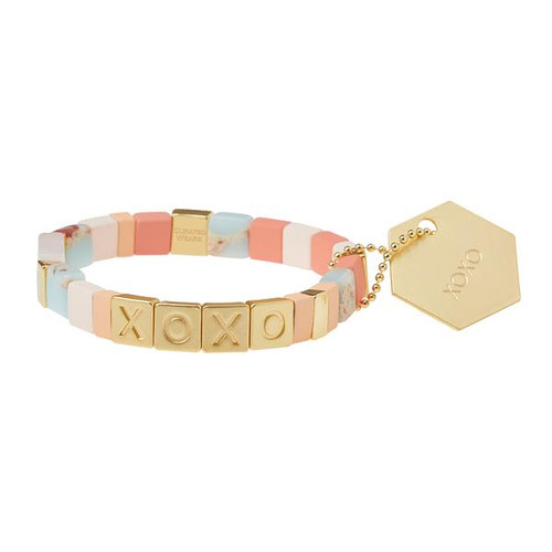 A mosaic of semi precious stones and matte tile beads are strung together with empowering words to inspire positivity.