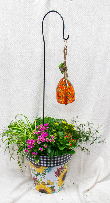 Get this beautiful medium sized Studio M Art Pot filled with fun plants and this fun glass wind bell! Let us choose a fun pot for you and dress it up with the perfect seasonal plants!