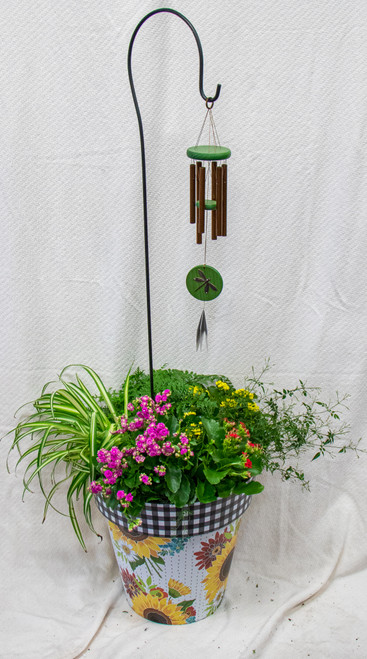 Get this beautiful medium sized Studio M Art Pot filled with fun plants and this fun Woodstock Habitats Wind Chime! Let us choose a fun pot for you and dress it up with the perfect seasonal plants!