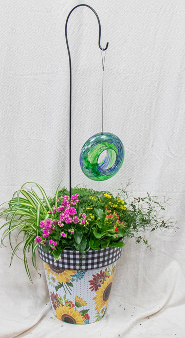 Get this beautiful medium sized Studio M Art Pot filled with fun plants and this fun hanging glass birdfeeder! Let us choose a fun pot for you and dress it up with the perfect seasonal plants!