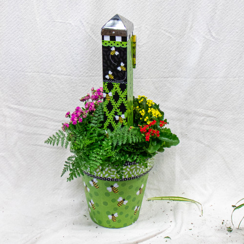 Get this beautiful medium sized Studio M Art Pot decorated with Bees and a beautiful Bee themed small art pole!