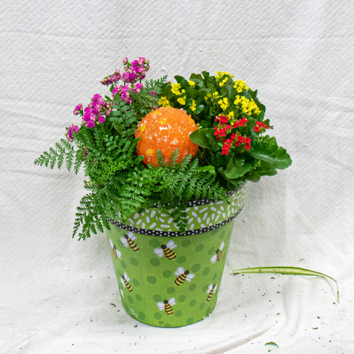 Get this beautiful medium sized Studio M Art Pot decorated with Bees and a beautiful Kitras Art Glass Bee Ball!