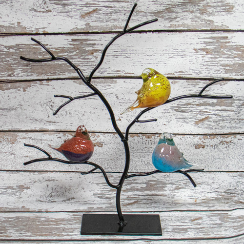Glass Birds in Tree Decor