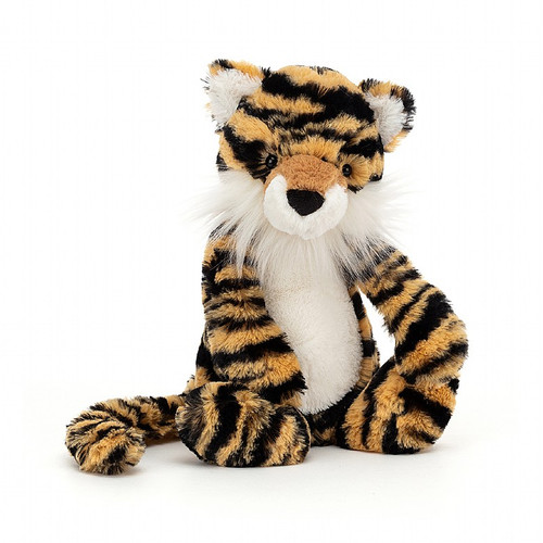 Bashful Tiger jigs from paw to paw - this stripey cat can't wait to go and explore! Don't be fooled by his super-soft fur - he's always up for a big adventure! But psst! Most of all, he loves a ruffle and scruff on his fuzzy white cheeks and muzzle.