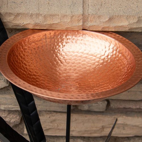 Copper and Cattails Bird Bath Stake