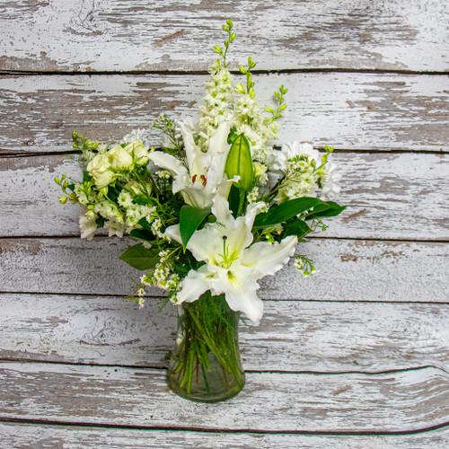 White Lilies Sympathy Arrangement