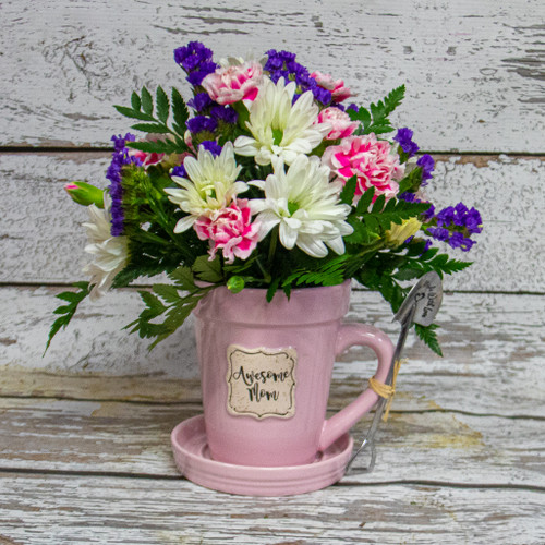 Awesome Mom Flower Pot Mug with Flowers
