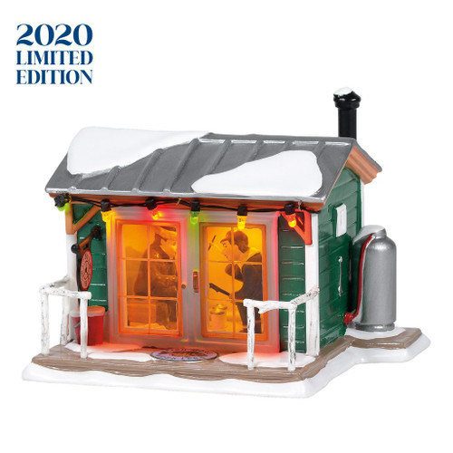 2020 Limited Edition. Hand numbered and limited to only 2,500 pieces. Glowing Christmas lights lead us to the newest fish house on the lake. Outside, the decorative clock reminds us that it's always 5 o'clock. LED lights illuminate the inside interior.