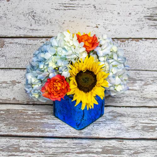 Sparkling Sunflowers Cube Arrangement