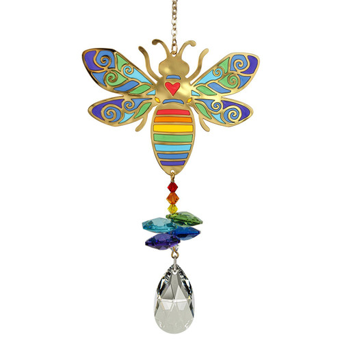 Featuring a stained glass effect with gold metal outlines filled with a translucent resin that allows light to shine through, our Crystal Wonders look the same from both sides. When hung in a window with the light streaming in, these colorful ornaments are breathtaking.  Butterflies start life as a caterpillar and then emerge as an elegant butterfly, so it's no surprise they represent transformation. They serve as a reminder to be creative, embrace change and allow your true self to emerge. Whatever it means to you, our Crystal Wonders - Butterfly is sure to let the sun shine in!  Works equally well as a sun catcher or Christmas ornament. Hang it in your office or dorm room - it's especially beautiful when hanging in the window or in front of a light.  Recommended for indoor use.