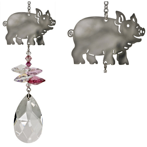 A large almond-shaped crystal is topped by small pink and clear crystals and a silver piggy who looks like he's headed for the barn. Must be dinner time!  Known to be intelligent and friendly creatures, pigs often serve as symbols of honesty, sincerity and determination. This little piggy tops a cluster of crystals that sparkle and shine in the sun.  Works equally well as a sun catcher or Christmas ornament. Hang it in your office or dorm room - it's especially beautiful when hanging in the window or in front of a light.  Recommended for indoor use.