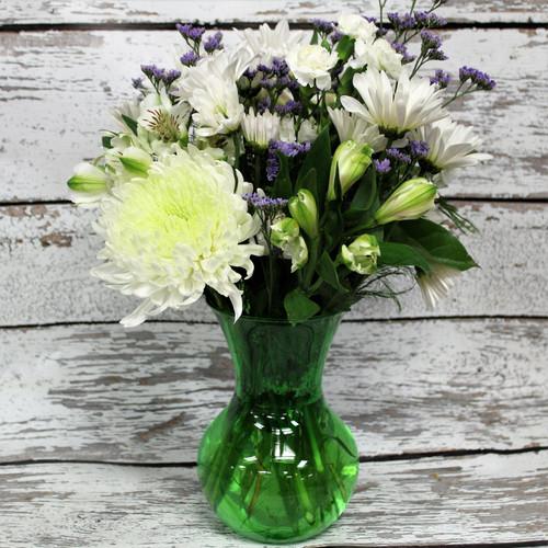 All White and Green Vase Arrangement