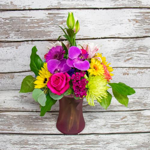 Orchids and Blooms Vase Arrangement