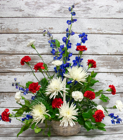 Red White and Blue Basket Arrangement