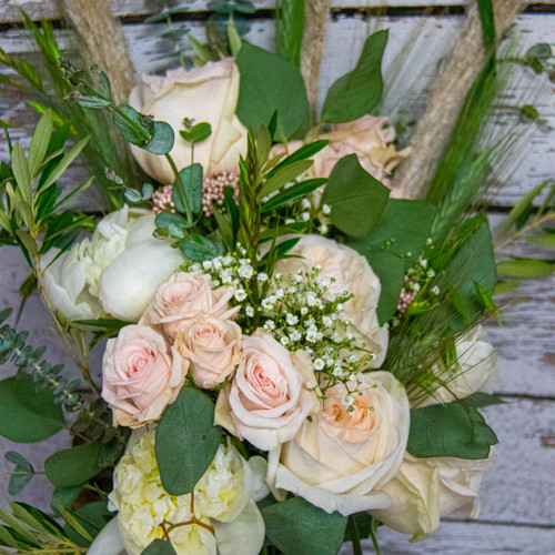Eucalyptus Roses and Wheat Bridal Bouquet