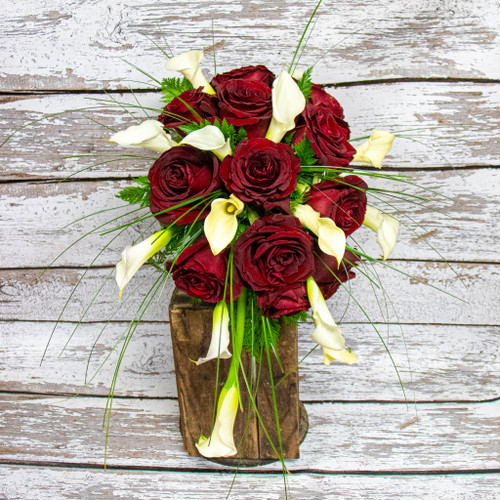 Red Roses and Calla Lilies Bridal Bouquet