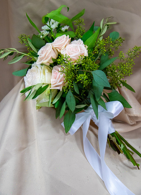 Roses and Eucalyptus Bridal Bouquet