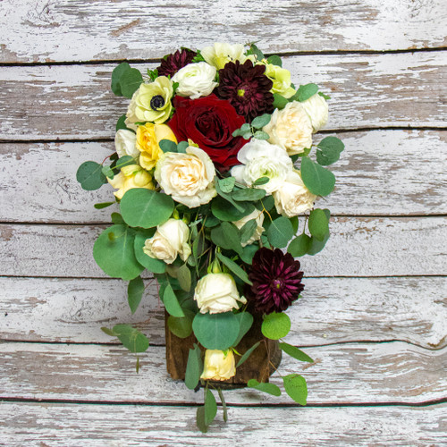 A Pop of Red Bridal Bouquet