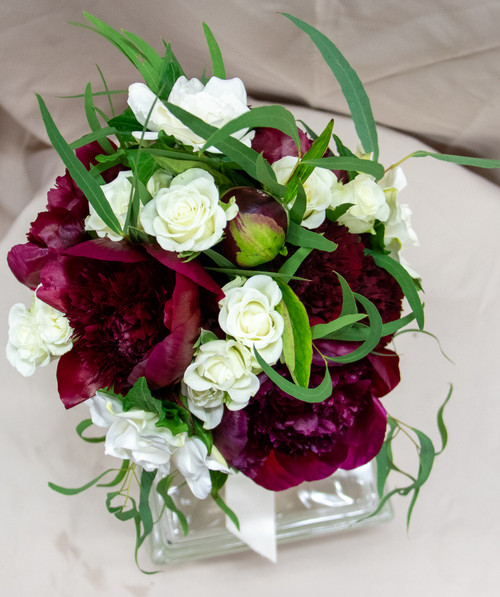 White with Burgundy Peonies Bridal Bouquet