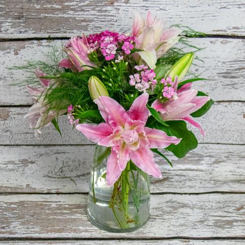 Rose Lily Vase Arrangement