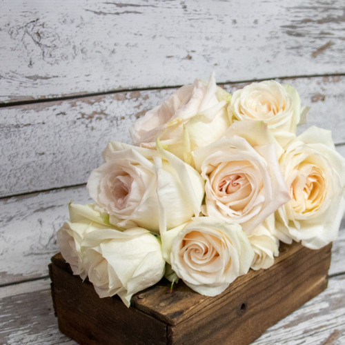 A bridal bouquet of all beautiful white garden roses designed in a vertical nosegay style.