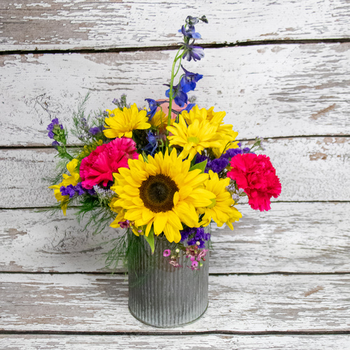 Sunflowers in Tin Vase Arrangement