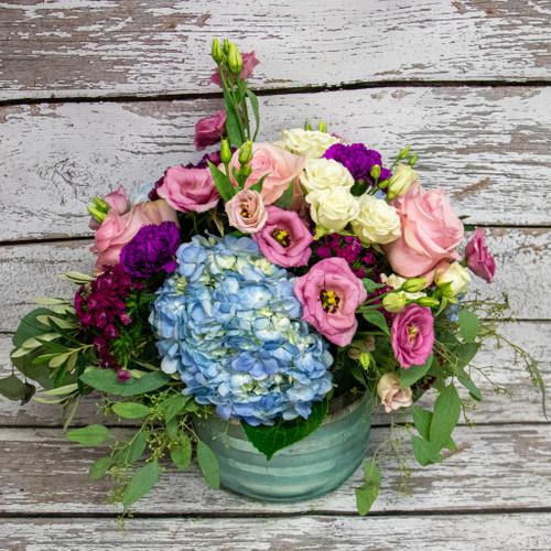 Pink and Teal Vase Arrangement
