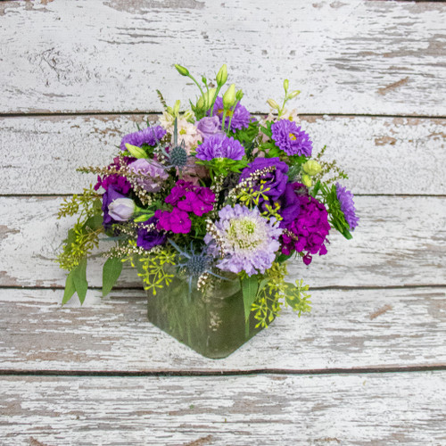 A Purple Wildflower Day Dream Cube Arrangement