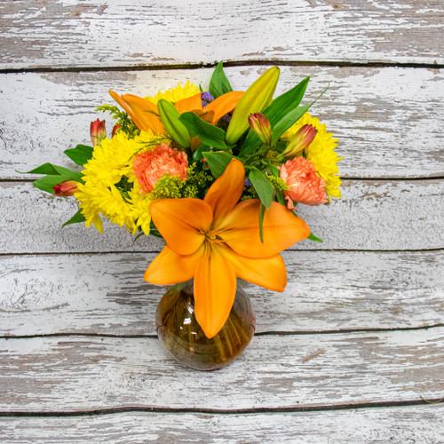 Autumn Lilies Vase Arrangement