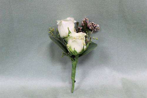 White Rose with Touch of Blush Boutonniere