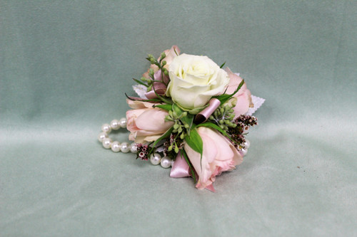 White Rose with Touch of Blush Corsage