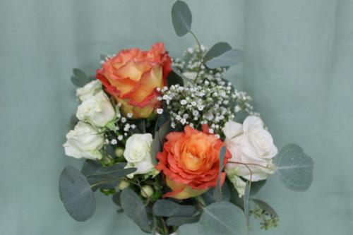 Boho White and Orange Bridesmaid Bouquet