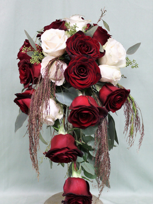 Red, White and Fall Cascade Bridal Bouquet