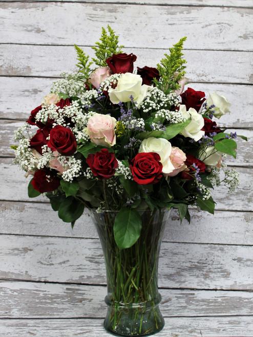 3 Dozen Mixed Colored Roses Arrangement