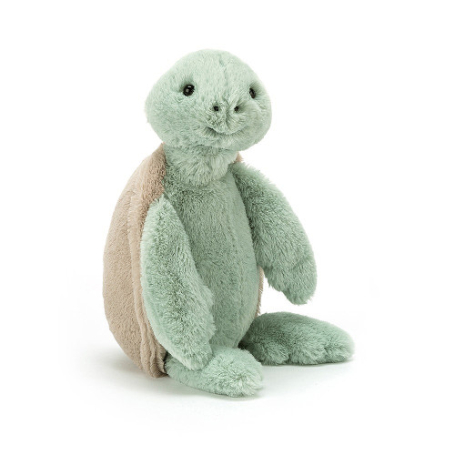Splash! Bashful Turtle is here and flipping gorgeous! This gentle turtle has a soft grey-beigey shell and flopsy, minty, chunky flippers! A perfect companion for trips to the seaside, this swimming sweetie is funny and friendly. Dive in and snuggle up!