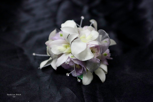 White Orchids with a Touch of Lavender and Bling Corsage