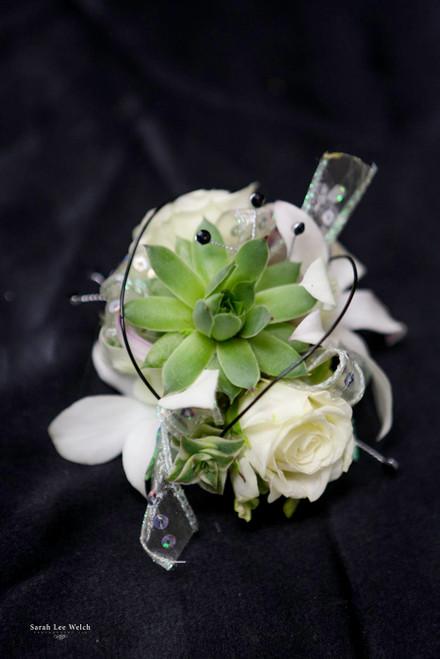 White Roses and Succulent, Black Accent Corsage on Keepsake Bracelet
