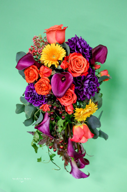 Fabulous colorful cascading fall bouquet of roses,  dahlias, gerberas,  purple mini calla lilies and pepperberry for that fall look.