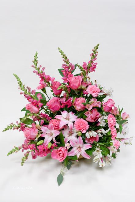 All pink fresh flower sympathy tribute