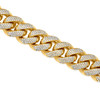 10k Yellow Gold 6ct Diamond XL Cuban Bracelet Close Up