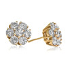 10k Yellow Gold 3ct Diamond Earrings Close Front and Side