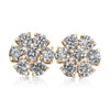 10k Yellow Gold 3ct Diamond Earrings Front Close Up