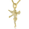 10k Yellow Gold 1.25 Diamond Angel Pendant On Chain Side View