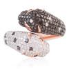 14k Rose Gold 1.86ct Black and White Diamond Jaguar Ring
