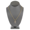 10k Yellow Gold .22ct Diamond Cross Pendant On Model