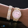 Rolex Day-Date 18K Yellow Gold President Pink Mother of Pearl 5ct Diamond Bezel Automatic Men's Watch 18038 On Model hand
