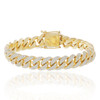 10k Yellow Gold 10.5ct Diamond Cuban Bracelet Front